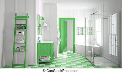 Scandinavian minimalist white and green bathroom, shower, bathtub and decors, classic