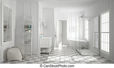 Scandinavian Minimalist White Bathroom Shower Bathtub And Decors Classic Vintage Interior Design