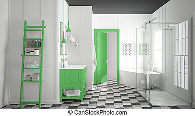 Scandinavian minimalist white, gray and green bathroom, shower, bathtub and decors, classic vintage interior design