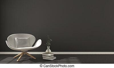 Scandinavian minimalistic background, with white armchair on herringbone natural parquet flooring, interior design