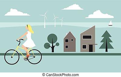 Scandinavian modern landscape - Young blond woman riding a ...