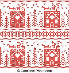 Scandinavian Nordic Christmas pattern with gingerbread house, snow, sleigh, trees , star