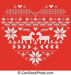 Scandinavian Nordic winter stitch, knitting christmas pattern in in heart shape shape including snowflakes, xmas trees, reindeer, snow, stars, decorative elements, ornaments on red background