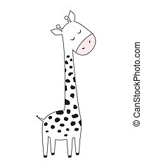 scandinavian print with cute giraffe, vector illustration