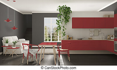 Scandinavian red minimalist living with kitchen, open space, one room apartment, modern interior design