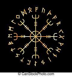 Scandinavian Runic Alphabet with the Vegvisir-the Magic...