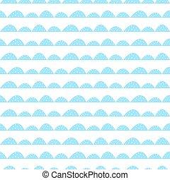 Scandinavian seamless blue pattern in hand drawn style.