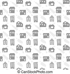 Scandinavian seamless pattern with hand drawn doodle houses. Cute children vector doodle. background for boys room, holiday textile, web design