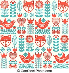 Scandinavian seamless vector folk pattern with flowers and animals inspired by Finnish art
