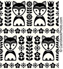 Scandinavian seamless vector pattern in black and white, Nordic background with foxes and flowers, folk art design