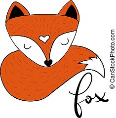 Scandinavian sleepy fox hygge style isolated on white...