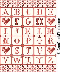 Scandinavian style Alphabet inspired by Norwegian Christmas, festive winter seamless pattern in cross stitch with heart, snowflake elements red, white cross stitch