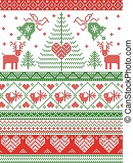 Scandinavian style and Nordic culture inspired Christmas, festive winter seamless pattern in cross stitch style with bells, trees , snowflakes, birds, stars, reindeer, hearts, ornaments in green, red