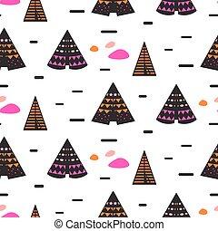 Scandinavian style black teepee seamless pattern.