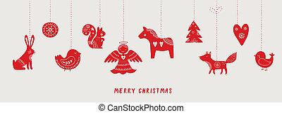 Scandinavian style Christmas banner, background