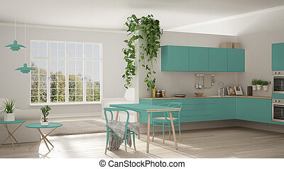Scandinavian turquoise minimalist living with kitchen, open space, one room apartment, modern interior design
