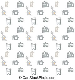 Scandinavian vector seamless pattern with hand drawn doodle houses. Cute children vector doodle. background for boys room, holiday textile, web design
