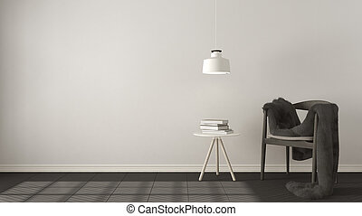 Scandinavian white and gray background, with table and pendant lamp on herringbone natural parquet flooring, interior design