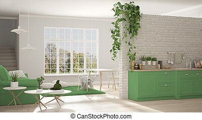 Scandinavian white and green minimalist living with kitchen, open space, one room apartment, classic interior design