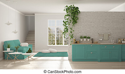 Scandinavian white and turquoise minimalist living with kitchen, open space, one room apartment, classic interior design