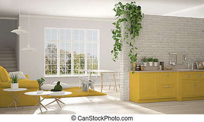 Scandinavian white and yellow minimalist living with kitchen, open space, one room apartment, classic interior design