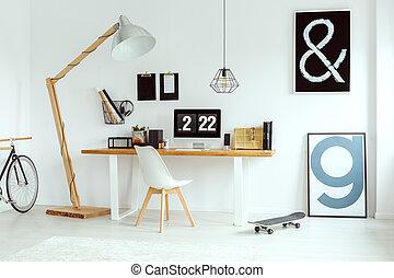 Scandinavian white home office