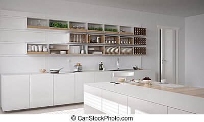 Scandinavian white kitchen, minimalistic interior design