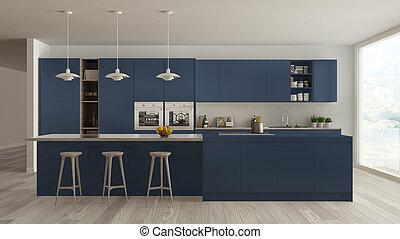 Scandinavian white kitchen with wooden and blue details, minimalistic interior design