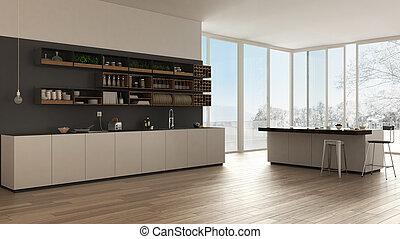 Scandinavian white kitchen with wooden and gray details, minimalistic interior design