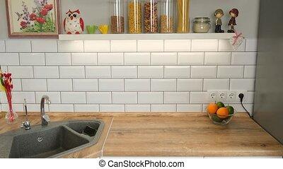 Scandinavian white kitchen with wooden shelves, minimalistic...