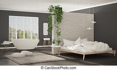 Scandinavian white minimalist bathroom and bedroom, open space, one room apartment, modern interior design