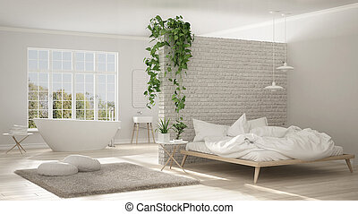 Scandinavian white minimalist bathroom and bedroom, open space, one room apartment, modern interior design