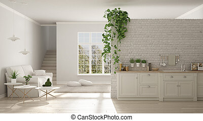 Scandinavian white minimalist living with kitchen, open space, one room apartment, classic interior design