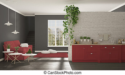 Scandinavian white, red and gray minimalist living with kitchen, open space, one room apartment, classic interior design