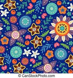 Scandinavian wild flowers seamless pattern - Floral pattern...