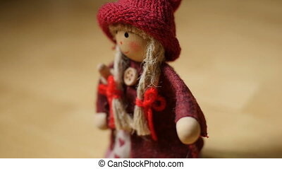 scandinavian witch velva toy, close-up camera in motion