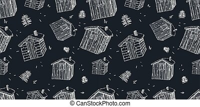 scandinavian wooden houses with grass on the roof seamless pattern on black background white border lines