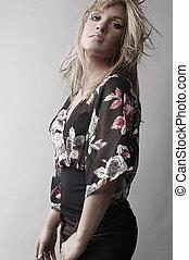 scandinavische, meisje, met, lang, blond haar