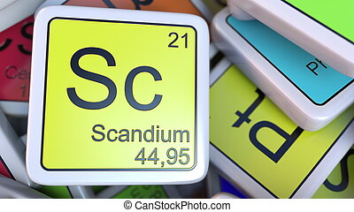 Scandium block on the pile of periodic table of the chemical elements blocks. Chemistry related 3D rendering