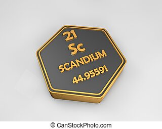 Scandium - Sc - chemical element periodic table hexagonal shape 3d render