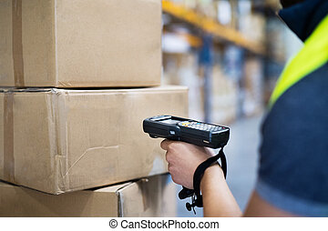 scanner., 倉庫, barcode, 労働者, マレ