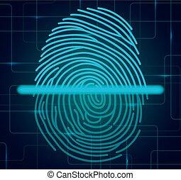 scanner, abbildung, fingerabdruck