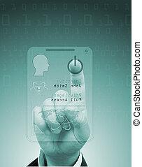 scanner., albo, identification., cyfrowy, asekuracyjny ...