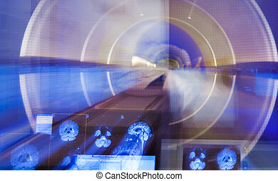 Scanner brain x-ray blur - A zoom blur of an X-ray scanner...