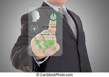 scanner., hånd, digitale