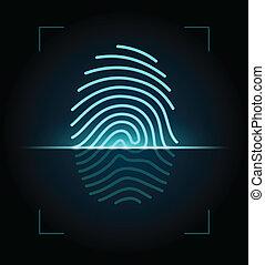 scanner, ilustração, impressão digital
