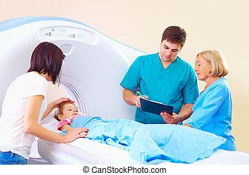 scanner, medizin, junger, besänftigung, mutter, baby, vorher, verfahren, ct