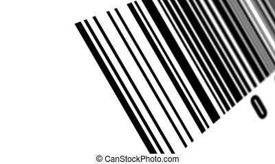 scanner, onderzoeken nauwkeurig, streepjescode, op, met, achtergrond.