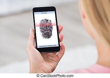 scanner, personne, mobile, projection, téléphone, empreinte doigt