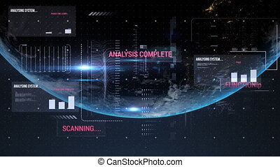 Animation of financial data processing with words Scanning and Analysis over planet Earth. Global business finances networking concept digitally generated image.